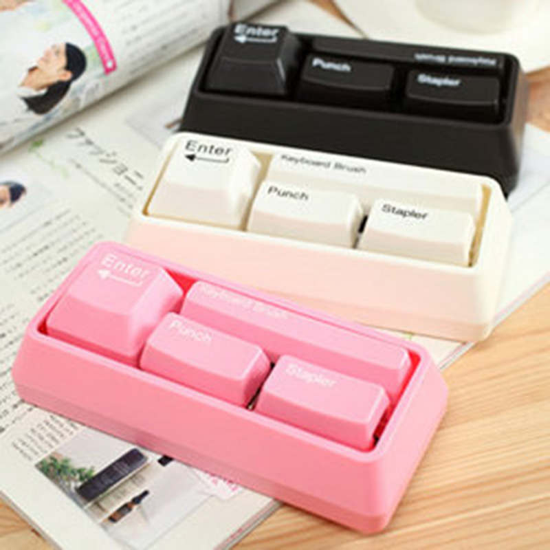 Novelty Keyboard Stationary Set As Office Stationary Supplies , Stapler / Puncher / Keyboard Brush / Clip Adsorption