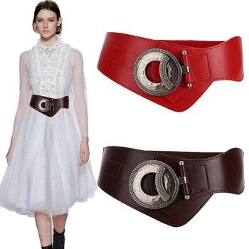 New Fashion super Wide cow Cummerbunds For Women Vintage big buckle alloy Hollow cutout Genuine Leather elastic waistband dress цена 2017