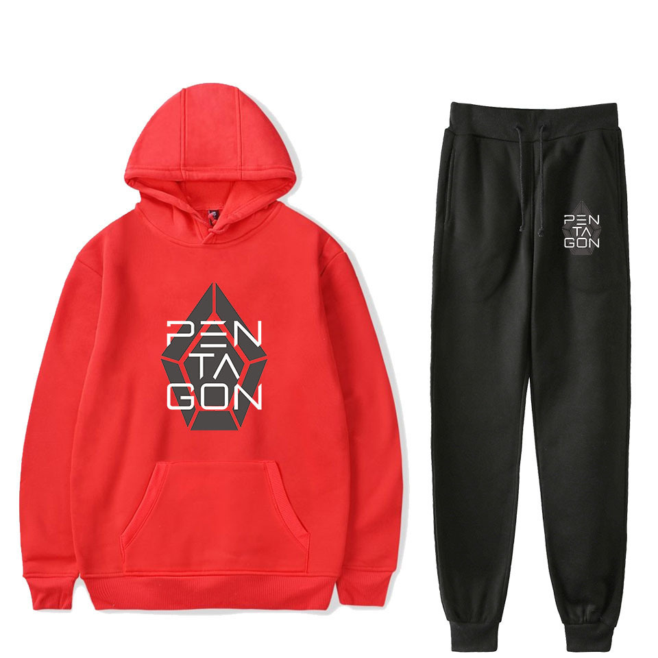2019pentagon Chinese Japanese Korean Men Groups Related Products Hooded Sweater Ankle Banded Pants Sports Set