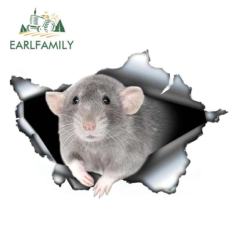 EARLFAMILY 13 см x 8,9 см, серая крыса Дамбо, автомобильная наклейка, рваная металлическая наклейка, Светоотражающая наклейка s наклейки для животны...