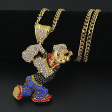 Popeye Pendant Necklace Creative Cartoon Character Mens Jewelry Hip Hop Punk Style Gift Golden Whip Chain