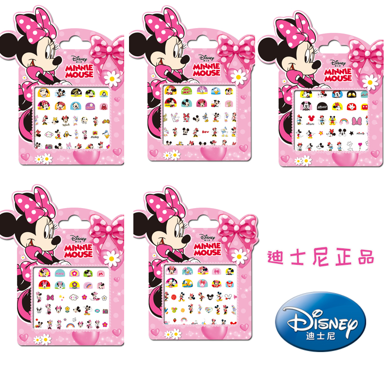 Genuine 5 Pcs Disney Minnie Mouse Makeup Toy Nail Stickers Toy Disney Girl Sticker Toys For Kids Brithday Gifts