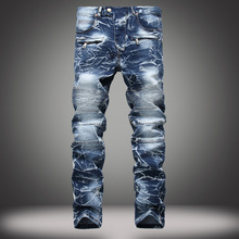 European and American Jeans for Mens Nostalgic Locomotive Straight-line Personality Pants Ripped Denim