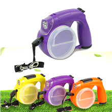 New retractable dog leashes 5m LED  food box with garbage can rope automatic telescopic traction tractor