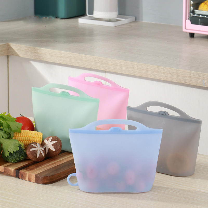 1000ml Silicone Food Storage Bag Reusable Ziplock Bags Fresh-keeping Bag For Food Storage 2020