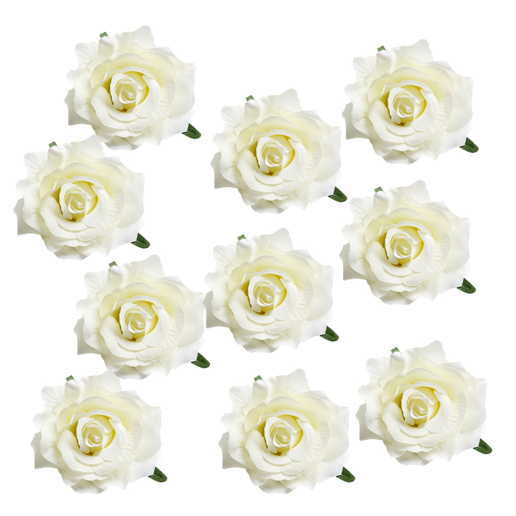 10 Pieces Handmade Large Artificial Silk Rose Buds Flowers Heads DIY Scrapbooking Flower Kiss Ball For Wedding Decoration