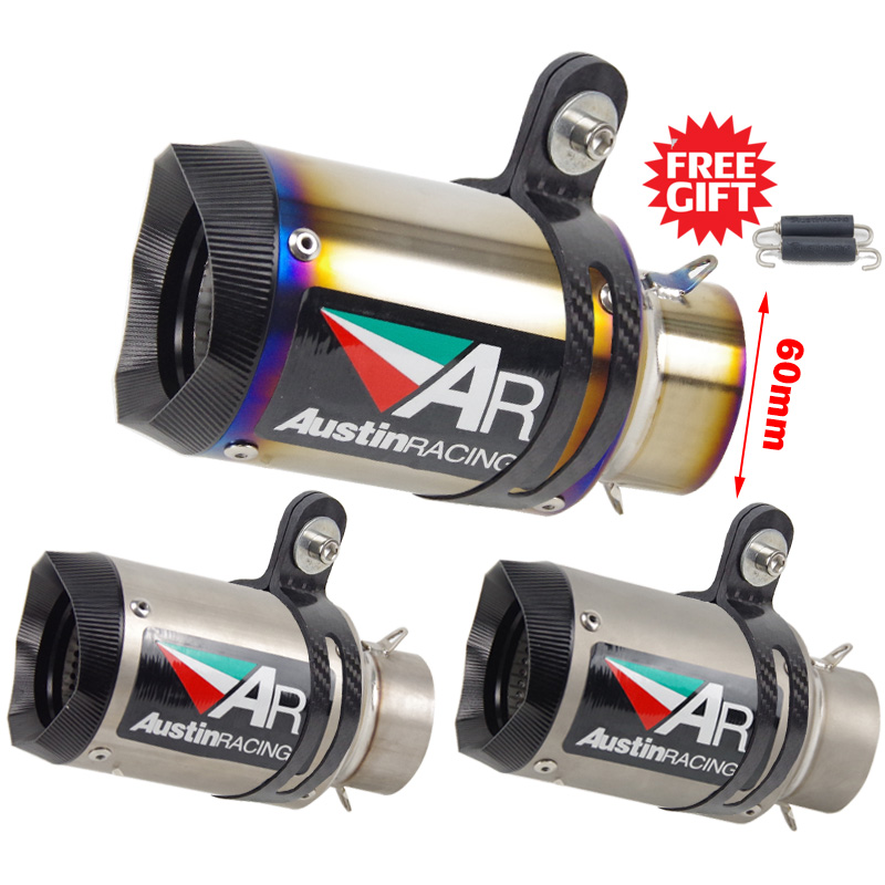 60mm universal Motorcycle exhaust muffler Titanium alloy Austin racing escape for BMW S1000rr ZX10R R6 R1 rsv4 cbr1000 gsxr750|Exhaust & Exhaust Systems| |  - title=