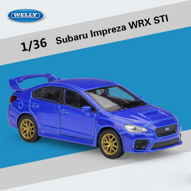 Welly Diecast 1:36 Subaru Impreza WRX STI Sports Car Pull Back Car Street Racing Model Car Metal Alloy Toy Car For Kid Gifts