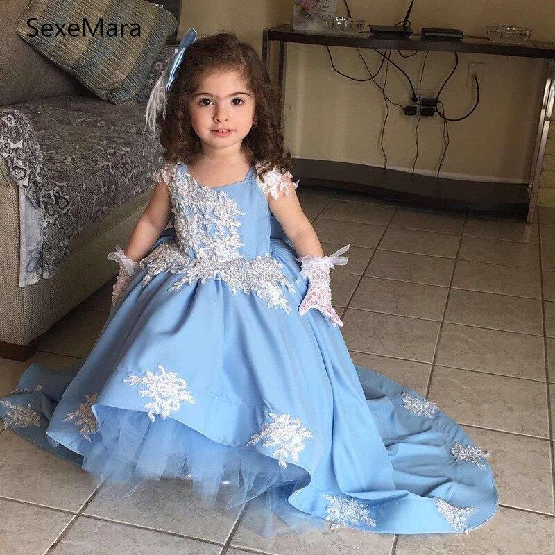Little Princess Satin Applique Baby Dress For Girl Baptism Christening 1st Birthday Party Newborn Gift Infant Tutu Girls Gown