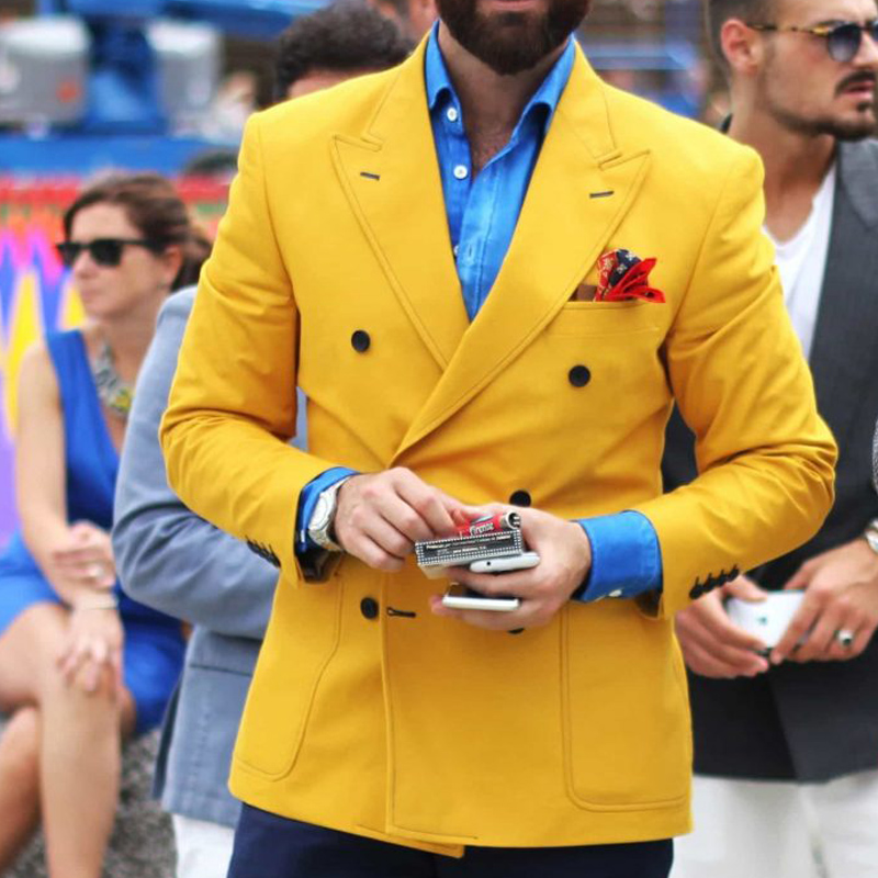 Yellow Slim Fit Men Blazer With Double Breasted Italian Fashion Style Tops Suit Jacket For Singer Prom Party Stage Male Coat