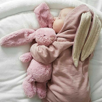 Imcute Cute Rabbit Ear Hooded Baby Rompers For Winter Babies Boys Girl Clothes Newborn Warm Jumpsuit Infant Costume Outfit 0-24M фото