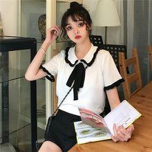 купить Women Summer Tee shirt Fashion Casual Female Top Bow-knot Short Sleeve T-shirts по цене 383.62 рублей