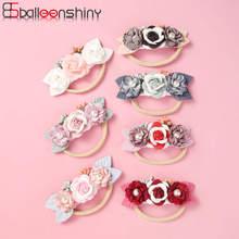 Balleenshiny Children's Headdress Baby Headband Handmade Pearl Stitching Flower Hair Band Seamless Elastic Rubber Hairband