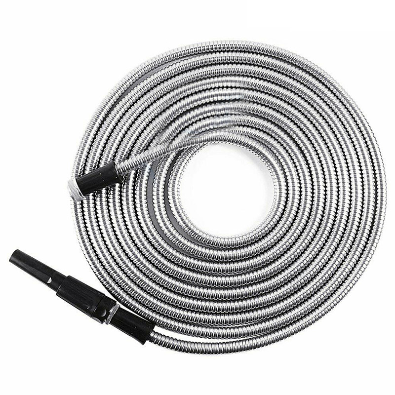 New stainless Steel Metal Garden Hose Water Pipe 25//50//75//100FT Flexible US