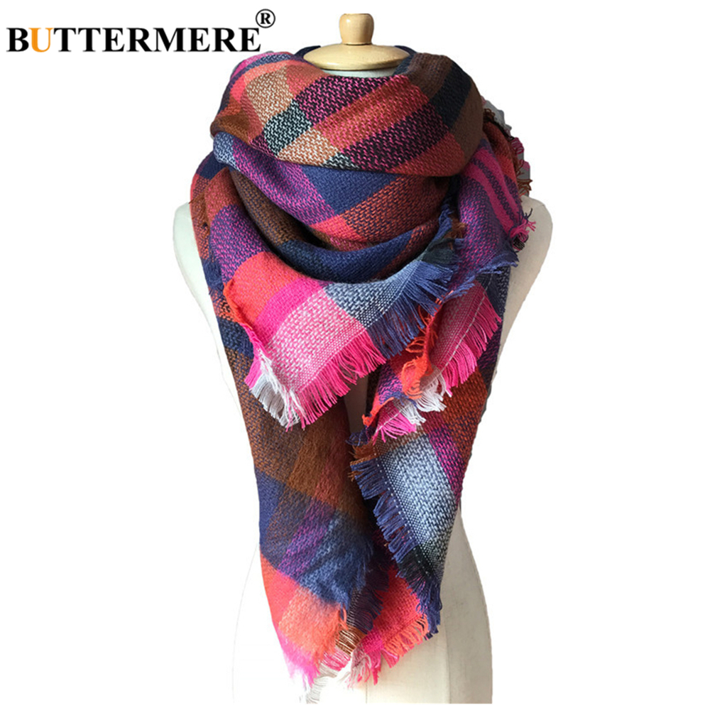 BUTTERMERE Shawl Winter Cashmere Scarf Women Colorful Plaid Blanket Scarfs For Ladies Brand Warm Female Scarf 140cm*140cm