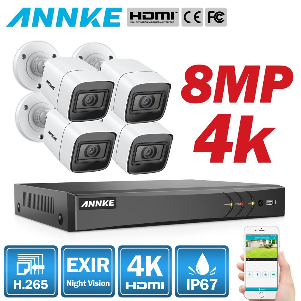 Annke 4 k hd ultra claro vídeo vídeo 8ch cctv sistema de segurança 5in1 dvr com 4x8 mp kit câmera de vigilância de vídeo à prova de intempéries ao ar livre