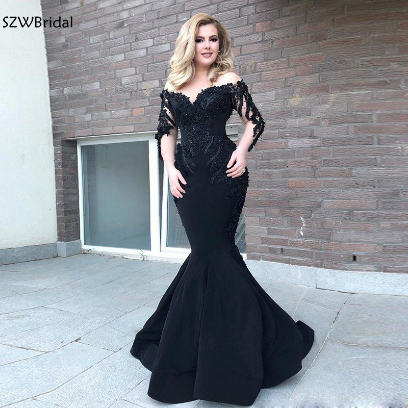 New Arrival V Neck Long sleeve evening dress Black mermaid dress Party evening gown 2019 robe de soiree