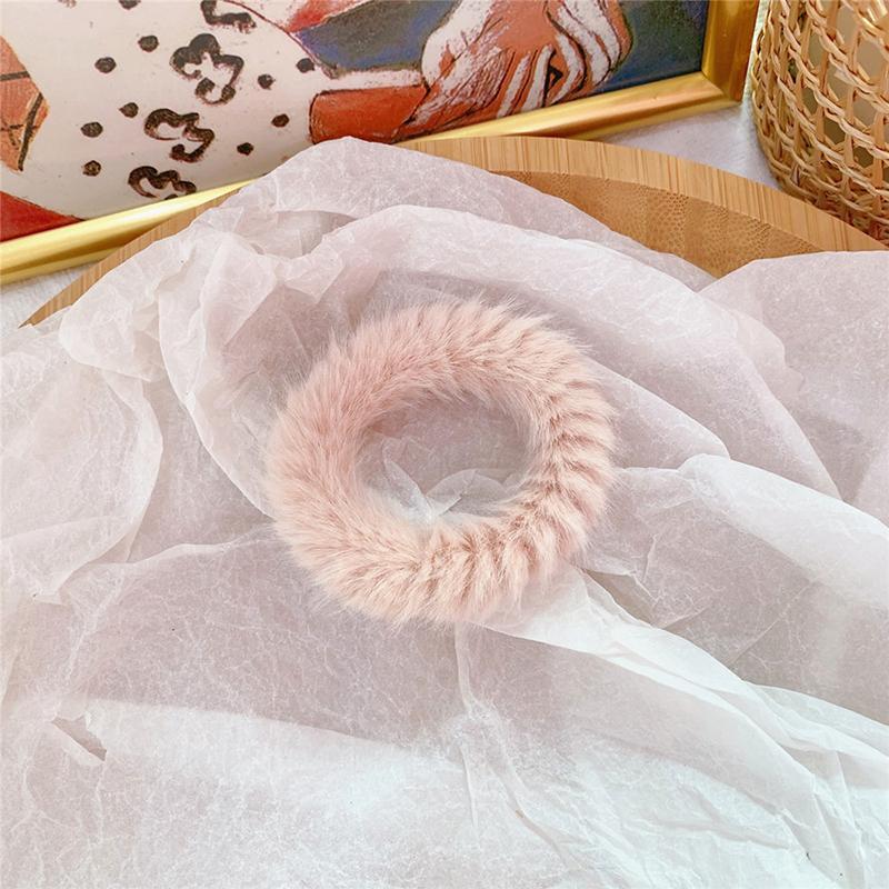 Мягкая Плюшевая повязка для волос резинки для волос натуральный мех кроличья шерсть мягкие эластичные резинки для волос для девочек однотонный цветной хвост резинки для волос для женщин - Цвет: 41