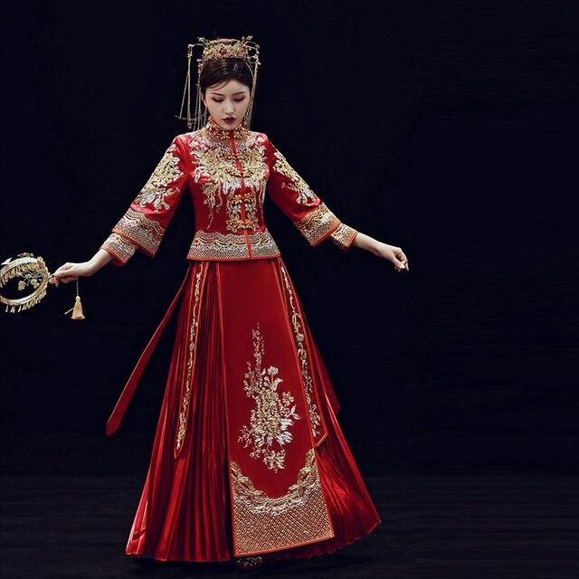 2019 קידום אונליין שושבינה כלה החדש 2020 שיה פאן Jinxiu Longfeng הקיים חתונה תלבושות בסגנון סיני להינשא