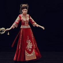 2019 프로모션 a 라인 신부 들러리 신부 새로운 2020 Xia Pan Jinxiu Longfeng 기존 결혼식 의상 중국 스타일 드레스 결혼
