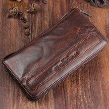 PNDME vintage handmade genuine leather men's long clutch wallet fashion casual high-quality sheepskin women's teens phone wallet