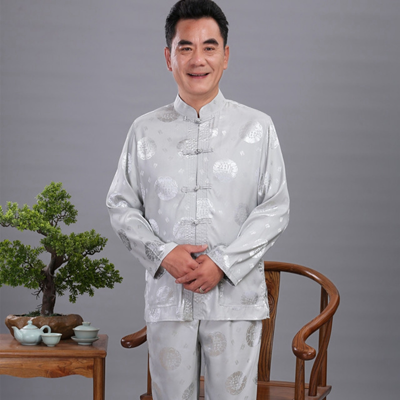 Men'S Satin Kung Fu Suit Chinese Designer Wu Shu Uniform Tai Chi Clothing Long Sleeve Shirt+Long Pant Sets Plus M L  XXL 3XL 4XL