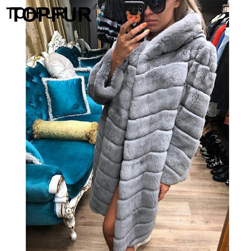 TOPFUR Women New Style Real Fur Coat With Fur Hood Winter Natural Rex Rabbit Fur Outwear 2018 Fashion Style Rex Rabbit Fur Coat