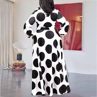 Plus Size 5XL Oversized Loose Contrast Color Dot Printed Floor Length Maxi Dress High Waist Lantern Sleeve Elegant Retro African