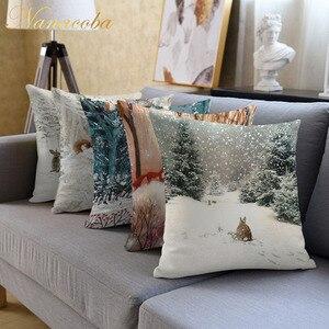 Nanacoba Christmas Pillow Case Home Decor Animal Deer Rabbit Pattern Printed Throw Pillow Covers Winter Cushion Cover Pillowcase