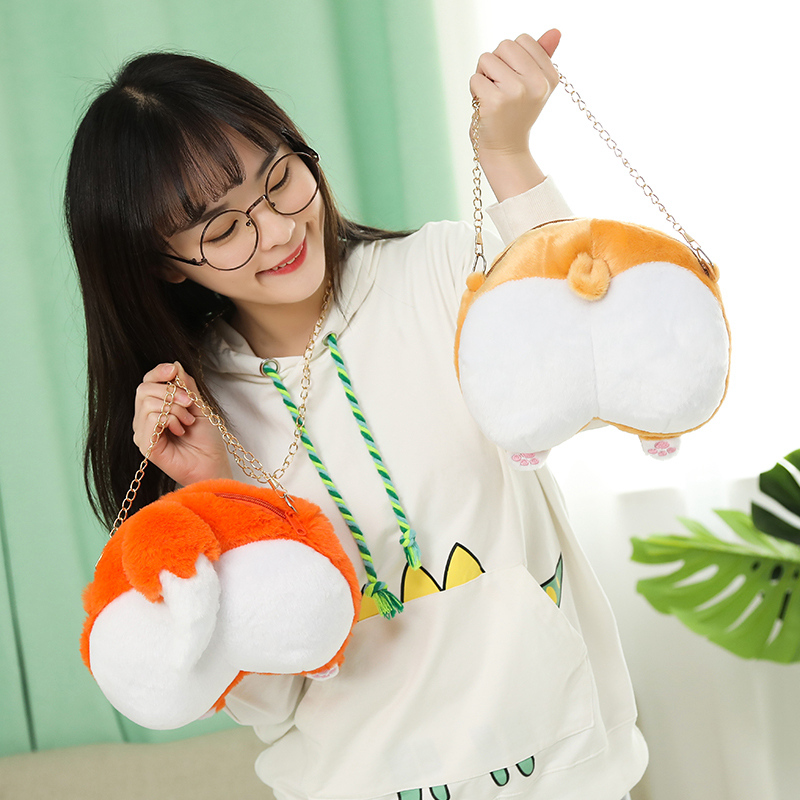 20cm Cute Corgi Fox <font><b>Sexy</b></font> Bottom Crossbody Bag Stuffed Plush Toy Kawaii Soft Purse Wallet For <font><b>Girls</b></font> And Kids Creative Gift Toy image