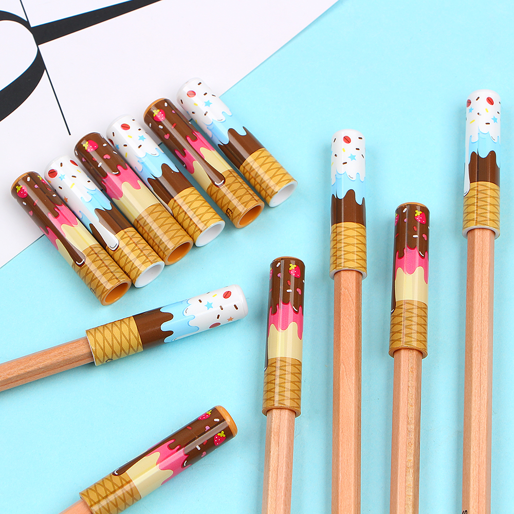 6 Pcs/set Cute Fox Pencil Protector Cover Student Pen/pencil Extender Cap School Office Stationery Supply