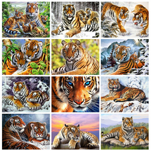 Huacan Diy Craft Diamond Painting Tiger 5D Diamond Embroidery Sale Snow Pictures Of Rhinestones New Arrival