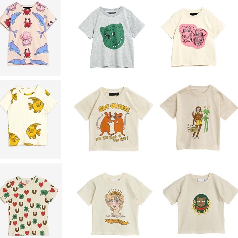 2021 New Summer Mini Kids T-shirts Baby Girls Clothes Cartoon Short Sleeve Toddler Christmas Shirt Striped Shirt Boys Tops Tees 1