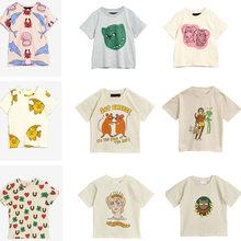 2021 novo verão mini crianças camisetas roupas do bebê meninas dos desenhos animados manga curta criança camisa de natal listrado camisa meninos topos t