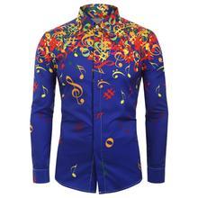 Casual Men Autumn Musical Symbols Print Long Sleeve Buttons Down Slim Shirt