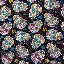 Moda crânio fundo preto tecido de algodão 100% tecido de algodão legal crânio impresso costura material diy casa pano vestido roupas