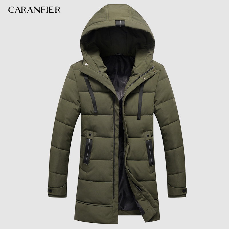 CARANFIER 6XL 7XL 8XL Man Long Parka Warm Winter Brand Jacket Luxury Hooded Collar Turtleneck Windproof Concise Men Clothes 2019