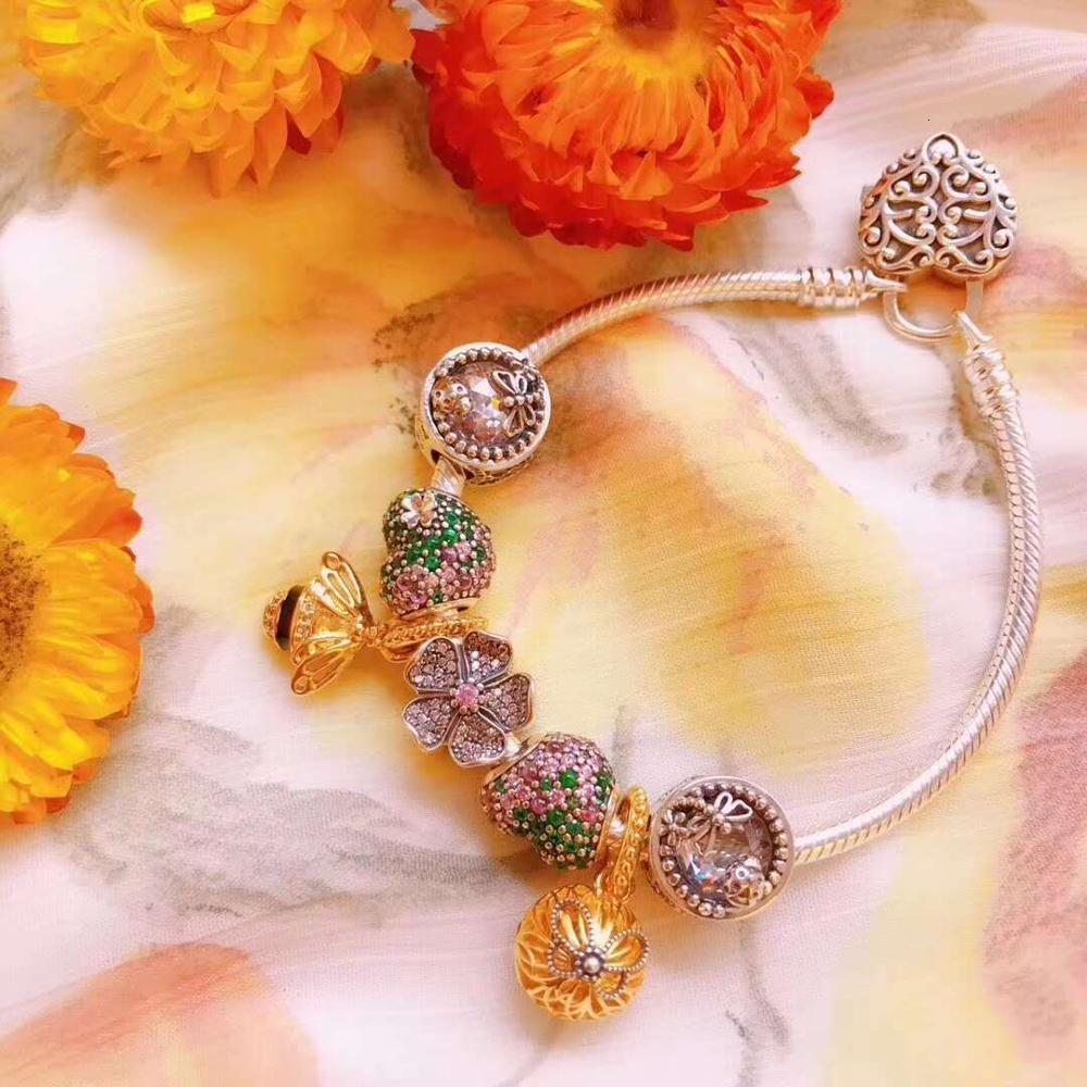 Low Price high quality 1:1 100% 925 silver sterling bee decorated flower fret bracelet free