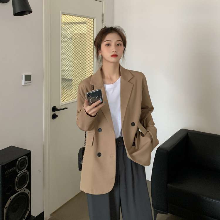 2020 Vintage Autumn Notched Collar Office Blazer Ladies Double Breasted Slim Work Wear Suit Jackets for Women JK431