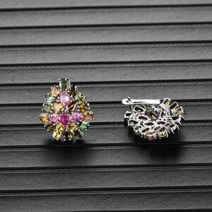 Image 2 - Bolai 100% 天然トルマリン高級スタッドピアス925スターリングシルバーマルチカラー宝石花の宝石クリスマス