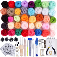 LMDZ 40 Colors Wool Roving Needle Felting Starter Kit with Wool Needles Needle Felting Needles Foam Mat Kits for Hand Spinning