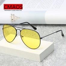 Marca 3025 óculos de visão noturna óculos para condução moda aviação amarelo óculos de sol visão noturna dos homens piloto eyewear