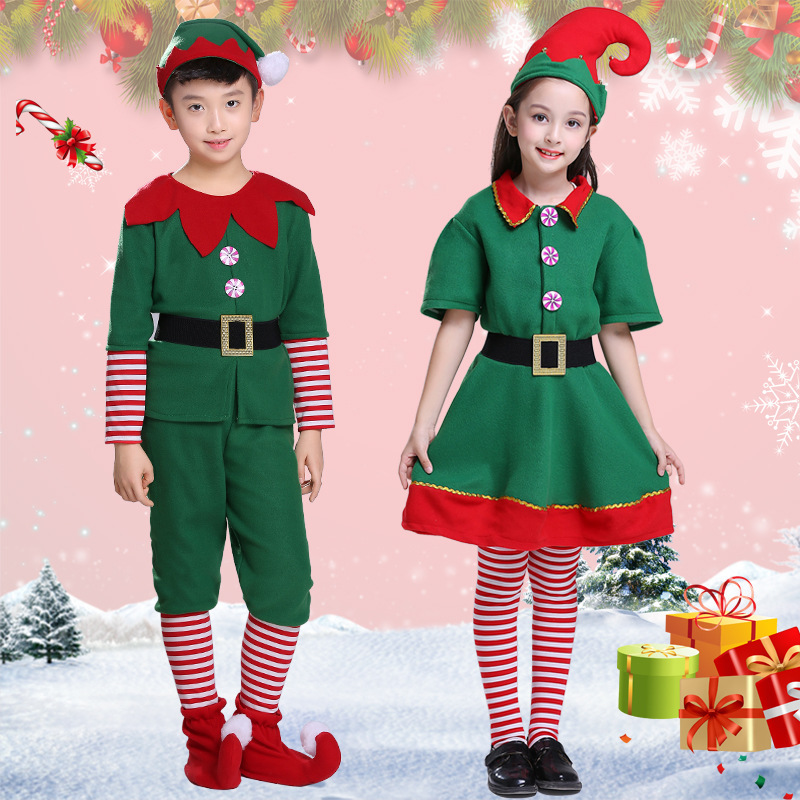 Halloween Children Performance Clothing Cosplay Performance Wear Men And Women Children Green Elf Peter Pan