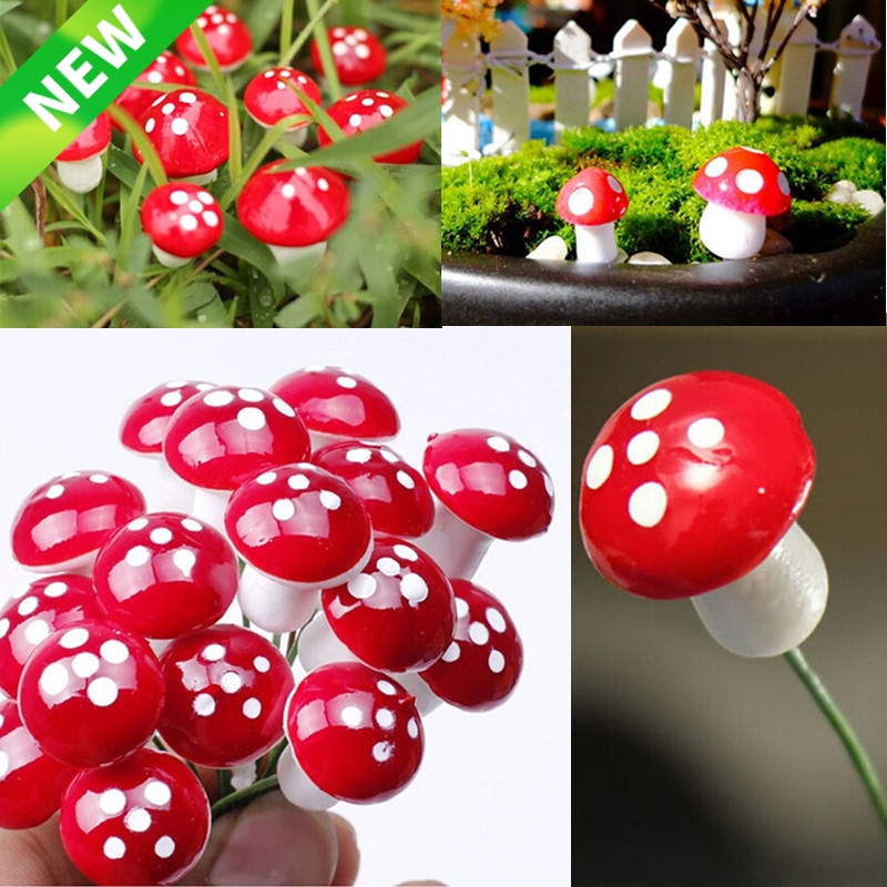 10Pcs 2cm Artificial Mini Mushroom Miniatures Fairy Garden Moss Terrarium Resin Crafts Decorations Stakes Craft