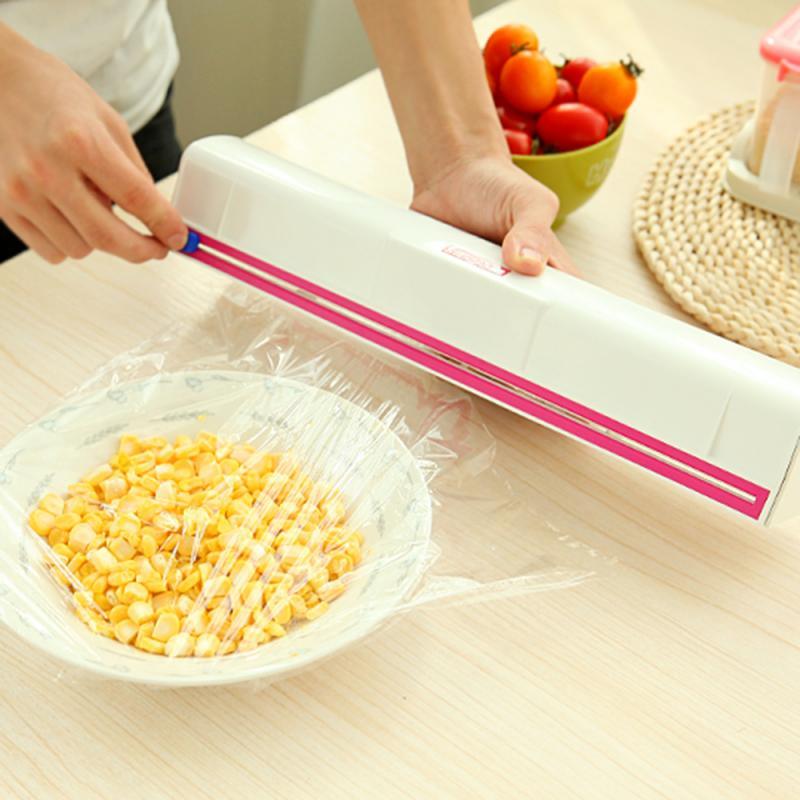 Handy Plastic Kitchen Foil Cling Film Wrap Dispenser Cutter Kitchen Cling Preservative Film Cutter Storage Kitchen Accessories