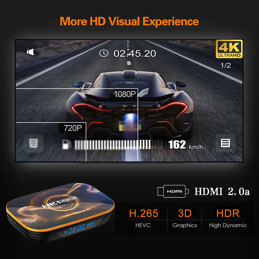 HK1 RBOXสมาร์ททีวีกล่องAndroid 10.0 2G 4G RAM Rockchip RK3318 2.4G 5G Dual Wifi 4K Google Player Store Youtube Media Player TVBOX