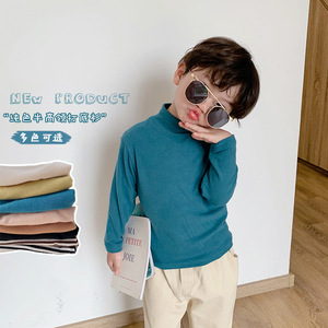 Autumn Winter fashion boys soft cotton candy color half-collar base T shirts children casual warm long sleeve Tees Tops
