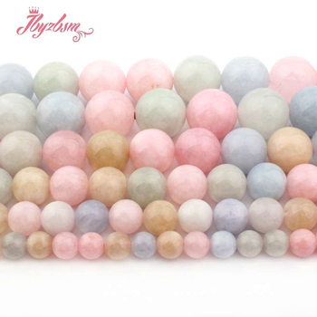 6/8/10/12mm Round Beryl Morgan Jades Beads Smooth Loose Stone Beads For Women Necklace Bracelet Earring DIY Jewelry Making 15 image