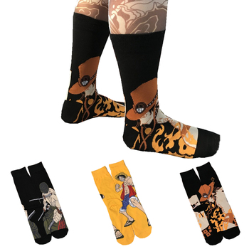 Men's Autumn Winter Cartoon Anime One Z Piece Luffy Cotton Funny Socks Harajuku Casual Fashion Street Trend Skateboard Socks цена 2017
