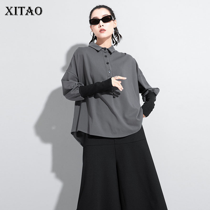 XITAO Patchwork T Shirt Fashion New Pleated Full Sleeve 2020 Winter Solid Color Small Fresh Casual Style Loose Tee Top XJ5343 1